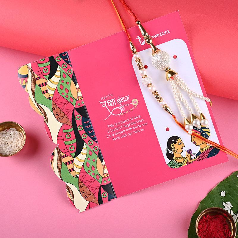 Designer Lumba Rakhi With Chocolates Combos For Brother Online rakhi with card view