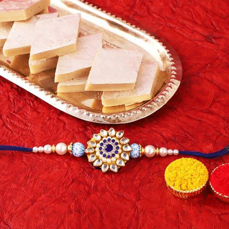 Designer Rakhi And Sweet Treats Combo