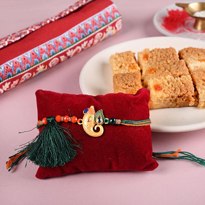 Designer Rakhi And Sweets Combo - One Ganesha Rakhi