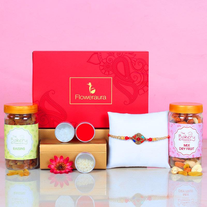 Designer Rakhi Signature Box - One Stone Rakhi with Roli and Chawal and Raisins and Mixed Dry Fruits and One Floweraura Signature Box