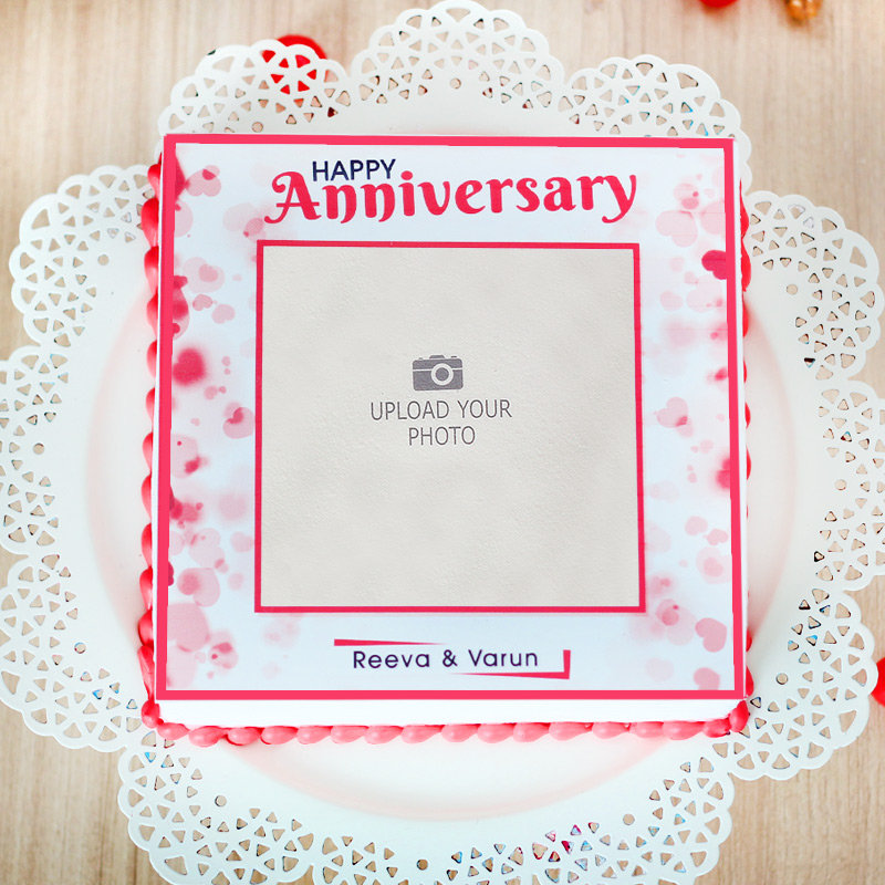 Anniversary Theme Cake - Top View