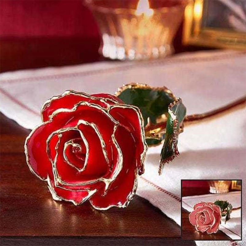 Dipped In Gold Red Rose