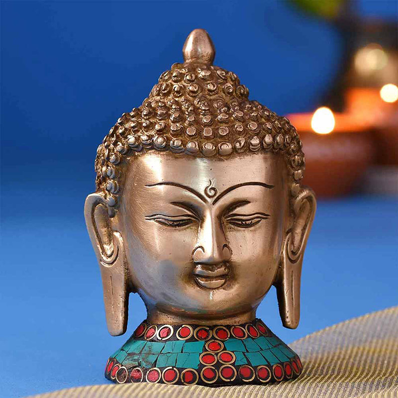 Divine Buddha Colourful Brass Idol