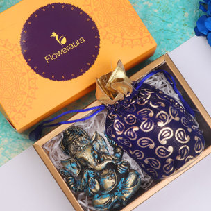 A Diwali Gift Box of Divine Ganesha with Cashews in Blue Potli