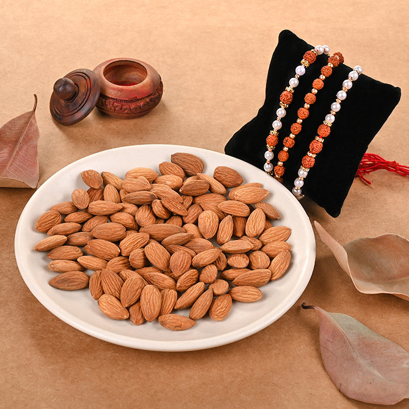 Divine Rudraksha Rakhi And Nuts Combo