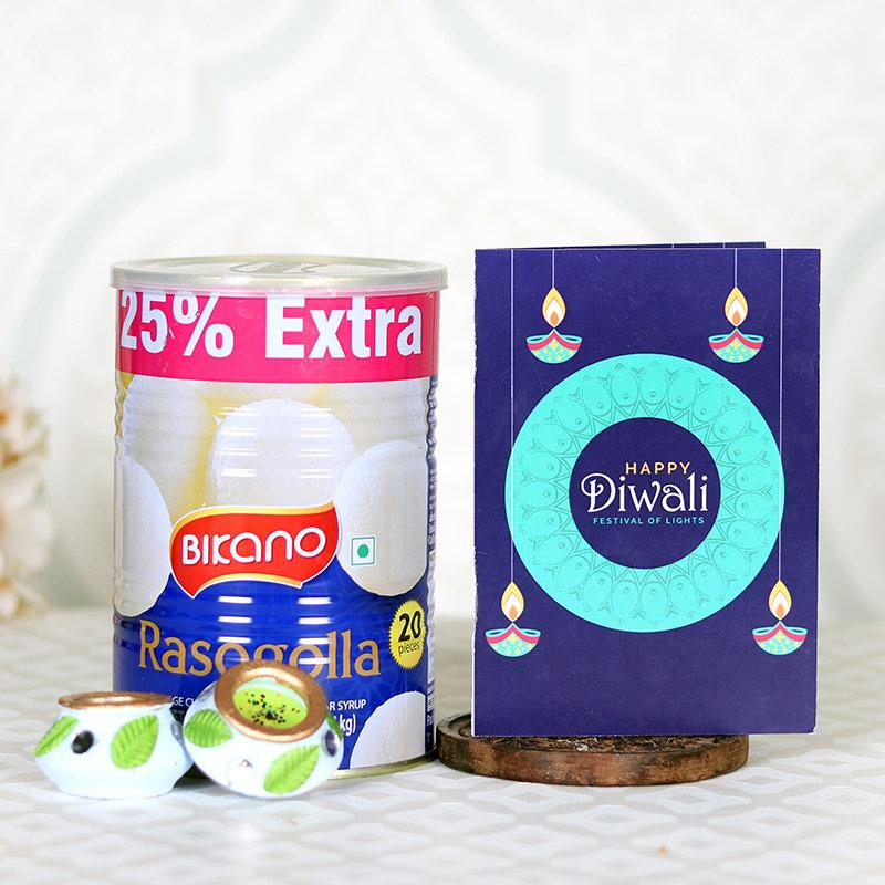 Diwali Greeting Rasgulla Combo - Diwali Gift