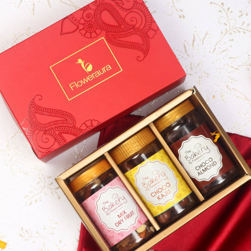 Diwali Gift Box of Mixed Dry Fruits with Choco Cashews and Choco Almonds