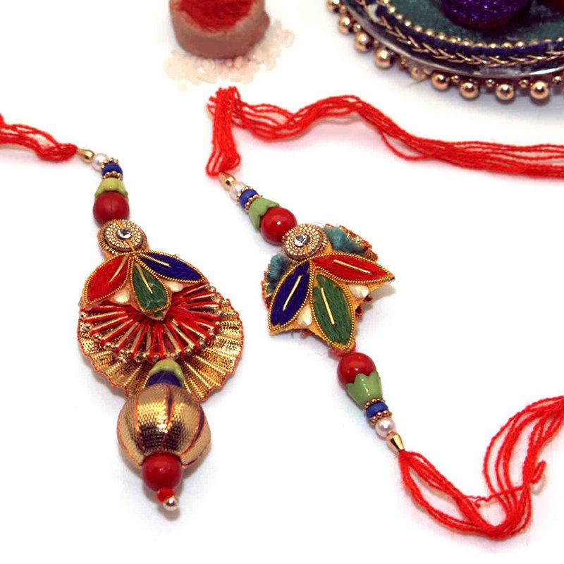 Diya Inspired Bhaiya Bhabhi Rakhi Set