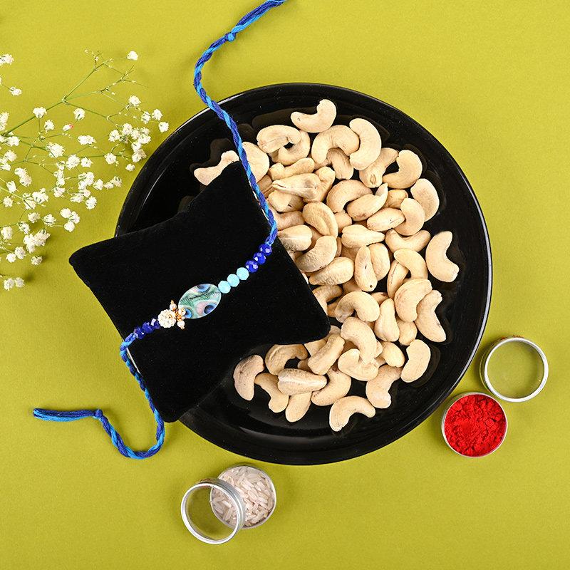 Dreamy Blue Rakhi With Cashews