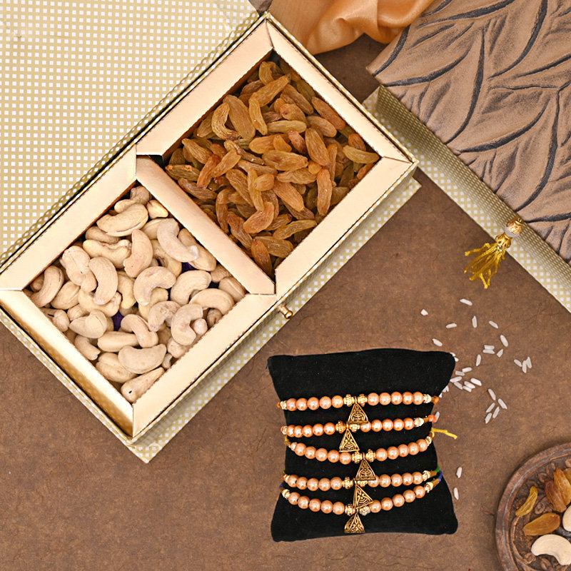 Dry Fruit FA Rakhi Premium Box - Set of 5 Designer Rakhi Premium Box