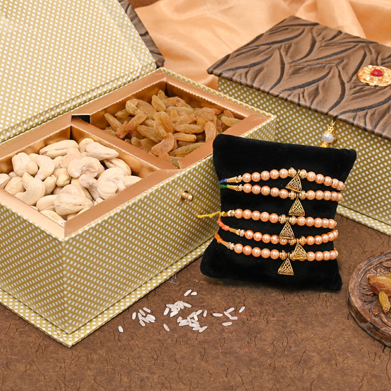 Set of 5 Designer Rakhi Premium Box - Dry Fruit FA Rakhi Signature Box