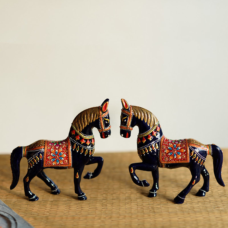 Duo Marching Horse Figurine