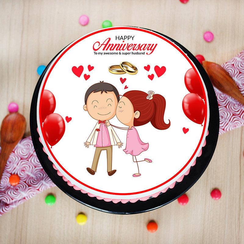 Eggless Anniversary cake