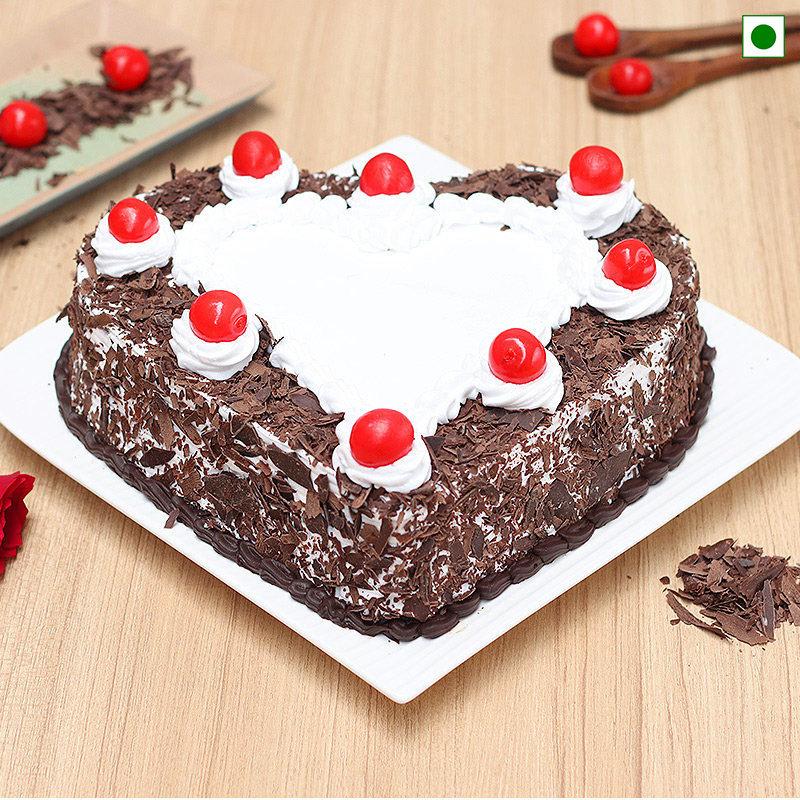 Heart Shaped Eggless Black Forest Cake