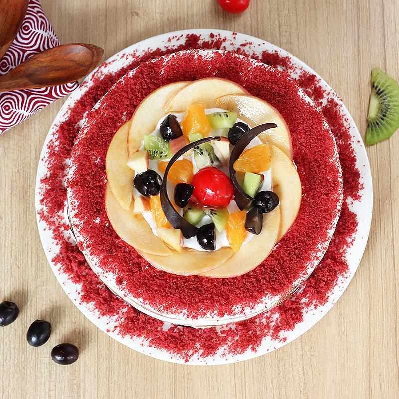 order online eggless Red Velvet Fruit Cake