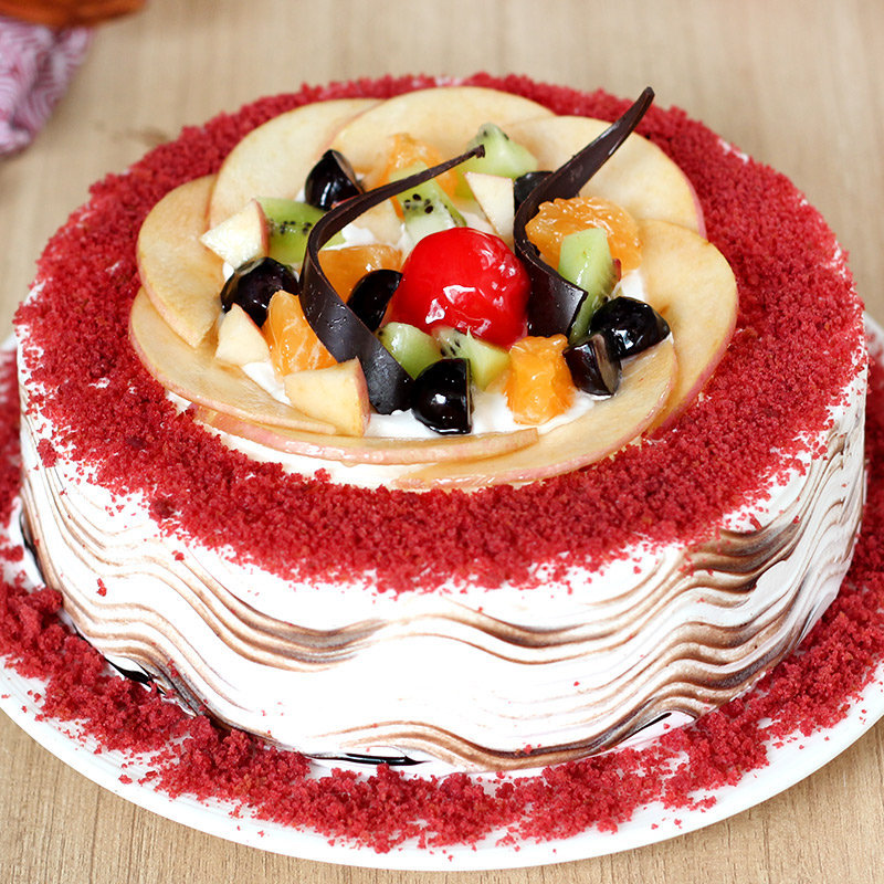 online eggless Red Velvet Fruit Cake delivery