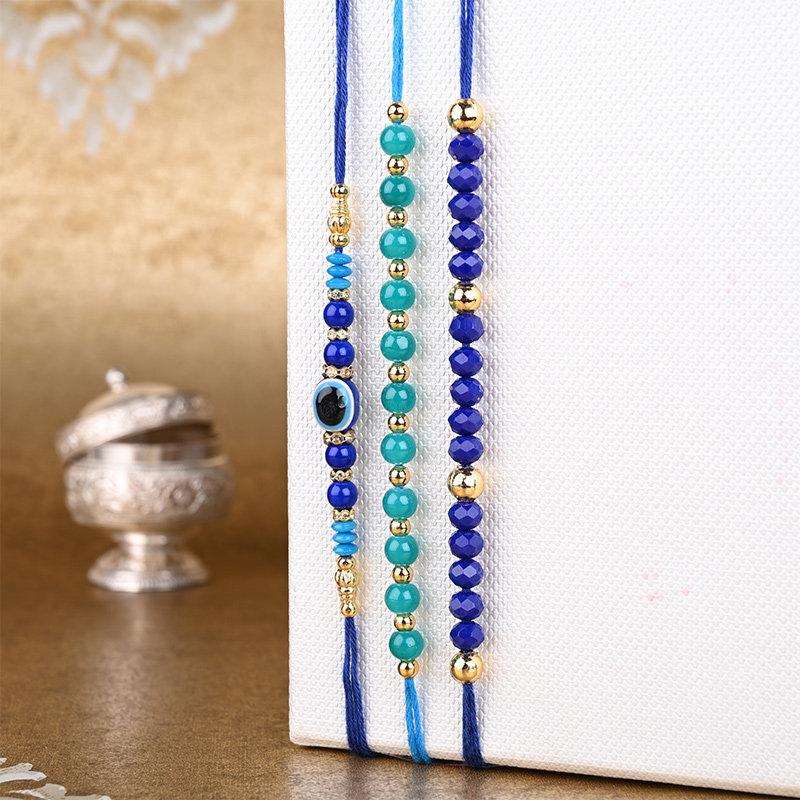 Elegant Beads N Pearls Rakhi Set - Set of 3 Designer Rakhi