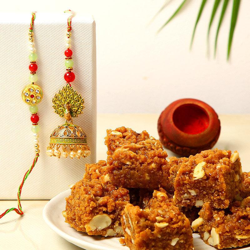 Elegant Bhaiya Bhabhi Rakhi Combo