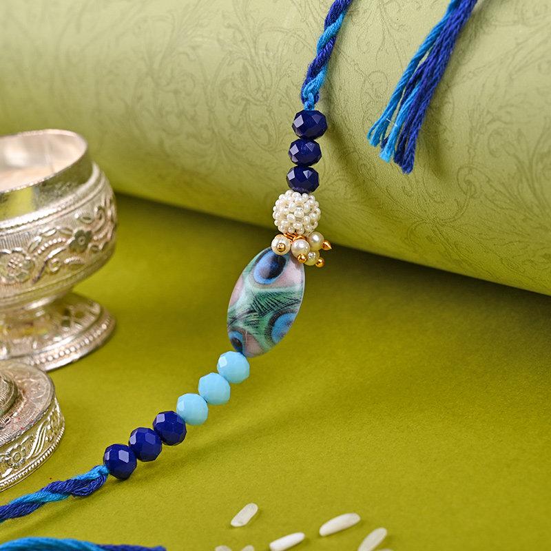 Elegant Blue Beaded Rakhi