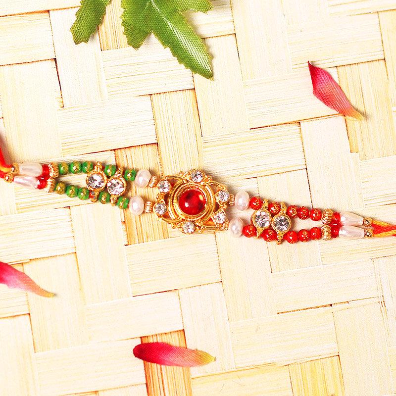 Elegant Embellished Rakhi - One Diamond Rakhi