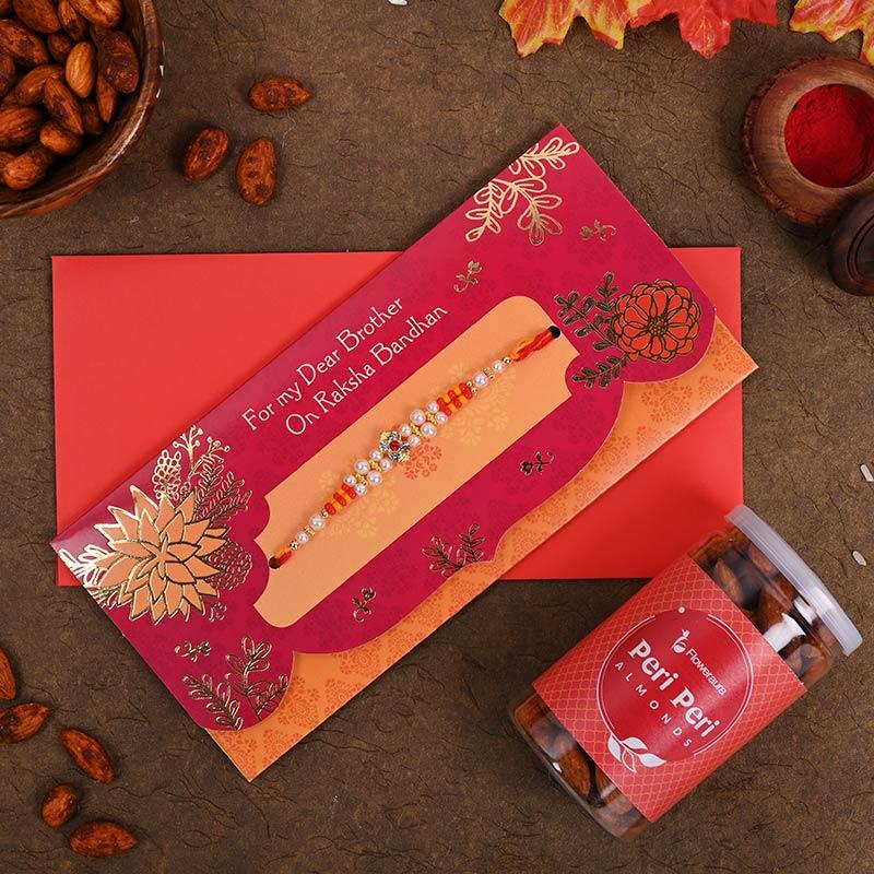 Elegant rakhi & greeting card combo