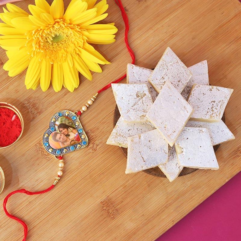 Embellished Heart Custom Rakhi Combo