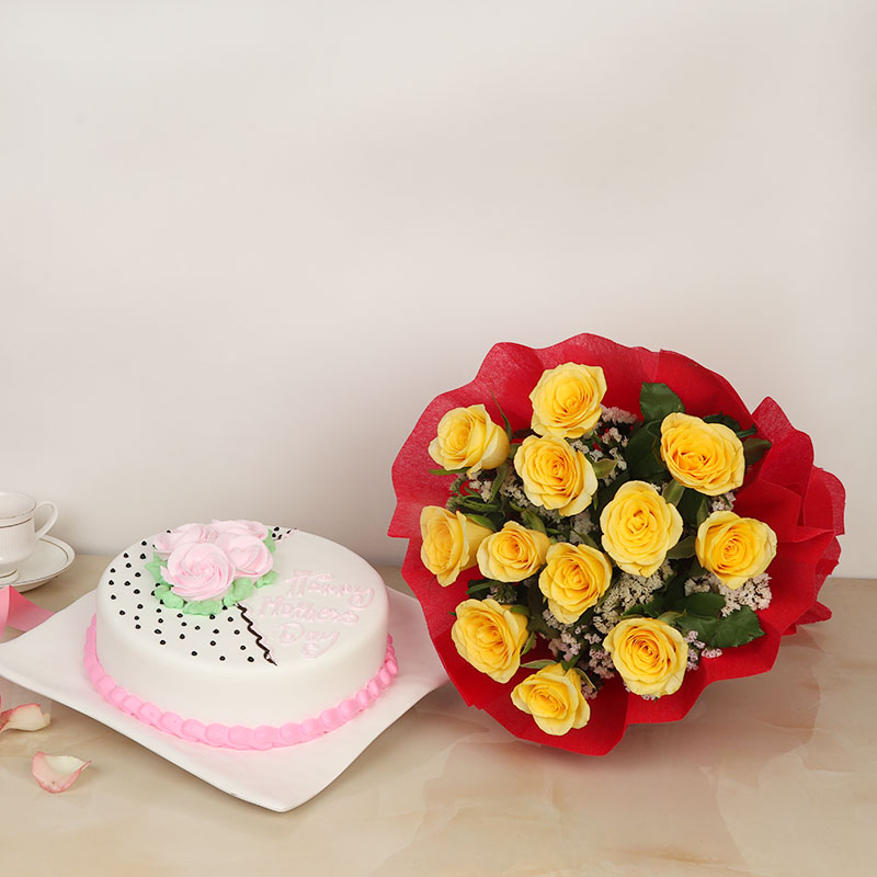 Enchanting Mothers Day Cake And Flower Duo