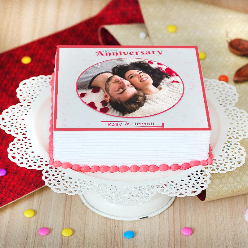 Marriage Anniversary Photo Cake - Zoom View
