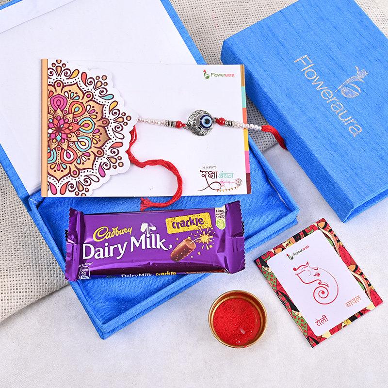 Evil Eye Rakhi Box - Designer Rakhi With Floweraura Box
