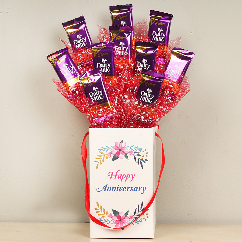 Exotic Chocolate Bouquet - 10 Dairy Milk Chocolates in Anniversary Chocolate Box