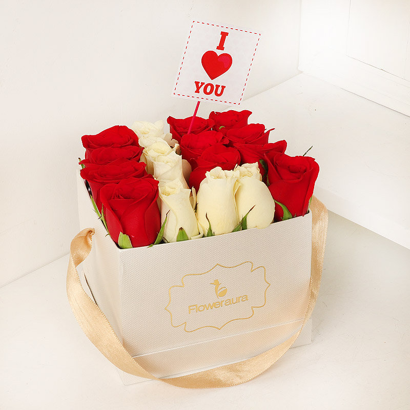 Exotic Red and White Roses Combo