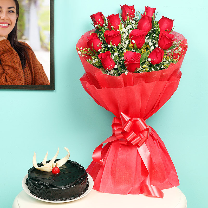 Red Roses with Chocolate Cake Combo