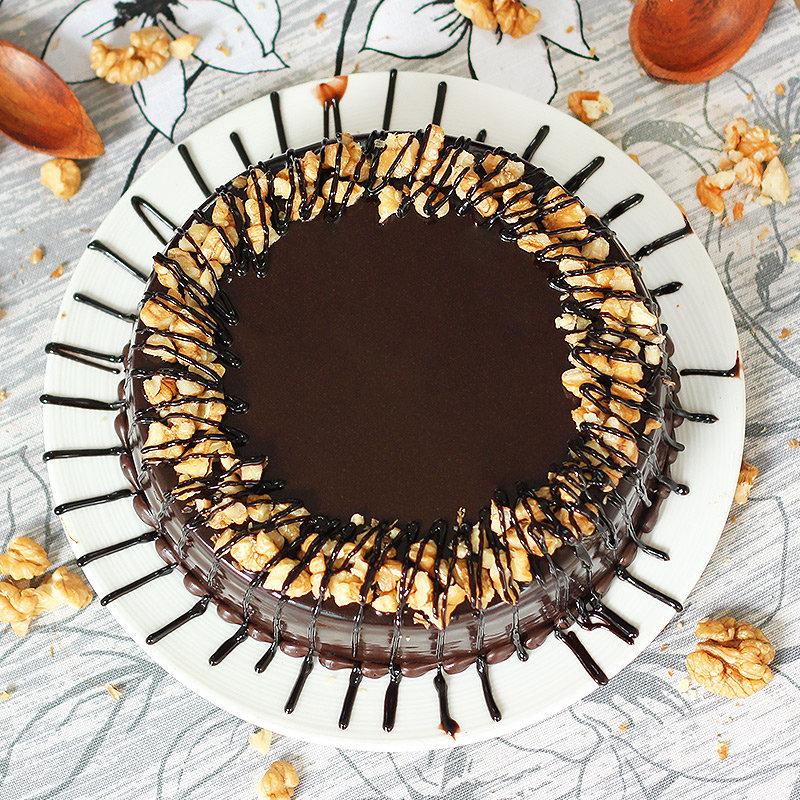 Choco-Walnut Cake - Top View