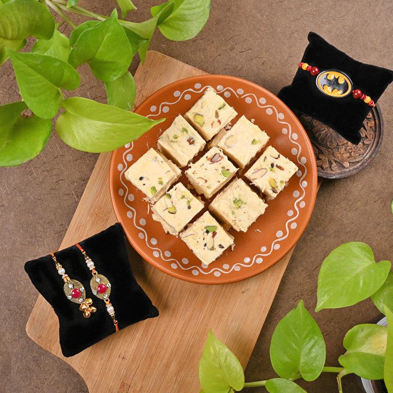 Exquisite Family Rakhi Pack - Set of Bhaiya Bhabhi Designer Rakhi