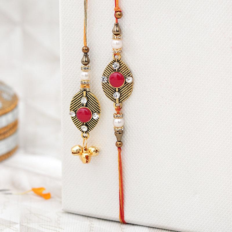 Second Product of Exquisite Family Rakhi Pack - Set of Bhaiya Bhabhi Designer Rakhi
