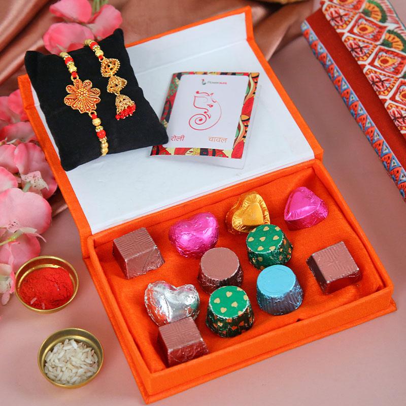 FA Bhai Bhabhi Rakhi Box - Bhaiya Bhabhi Rakhi and Handmade Chocolate