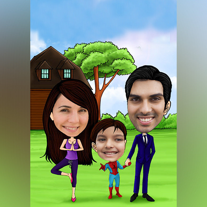 Family Fun Caricature
