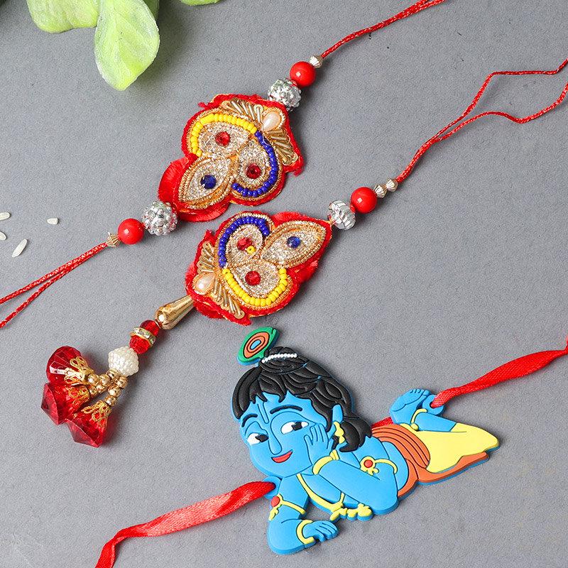 Family Rakhi Special - Set of Bhaiya Bhabhi Designer Rakhi with Krishna Rakhi and Complimentary Roli and Chawal