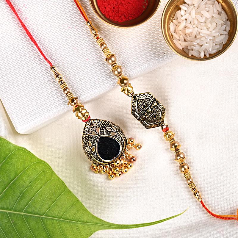 Fashionable Bhaiya Bhabhi Metallic Rakhi - Bhaiya Bhabhi Rakhi Set and Complimentary Roli and Chawal