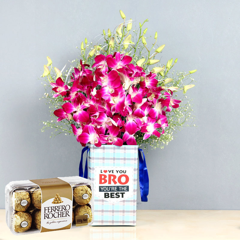 Ferrero Rocher N Orchid Combo - Bunch of 6 Purple Orchids with Brother Flower Box and Pack of 16 Ferrero Rochers