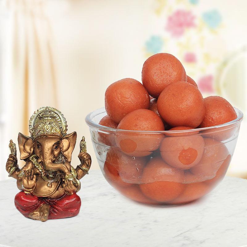 Diwali Special Sweets with Ganesha idol