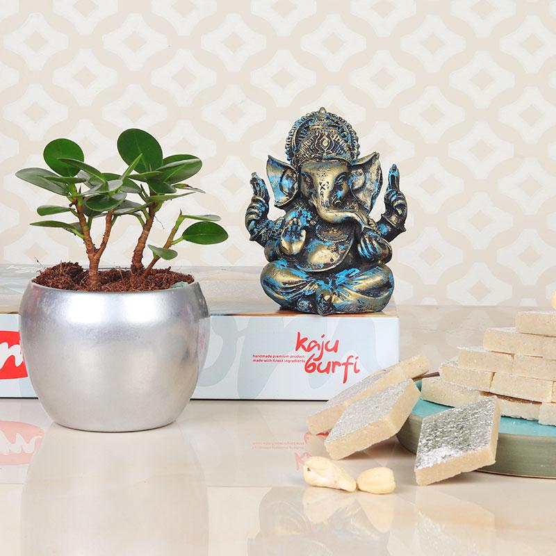 Diwali Gift Combo of Fius Island plant with Ganesha Idol and Kaju Katli