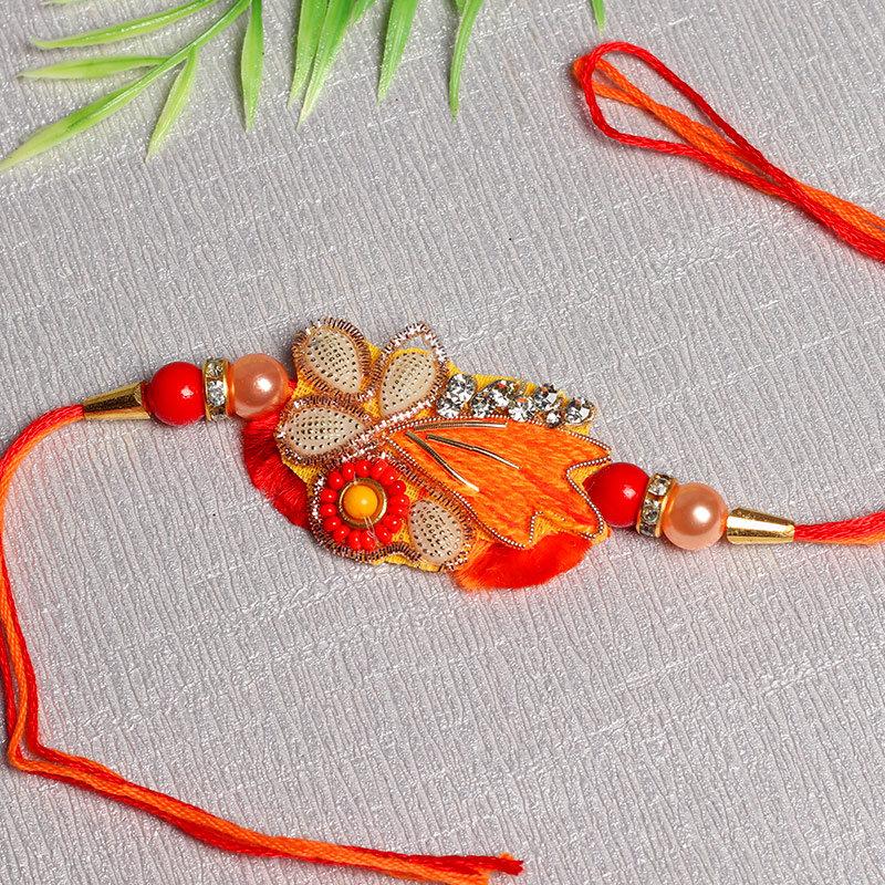 Fiery Orange Zardosi Rakhi
