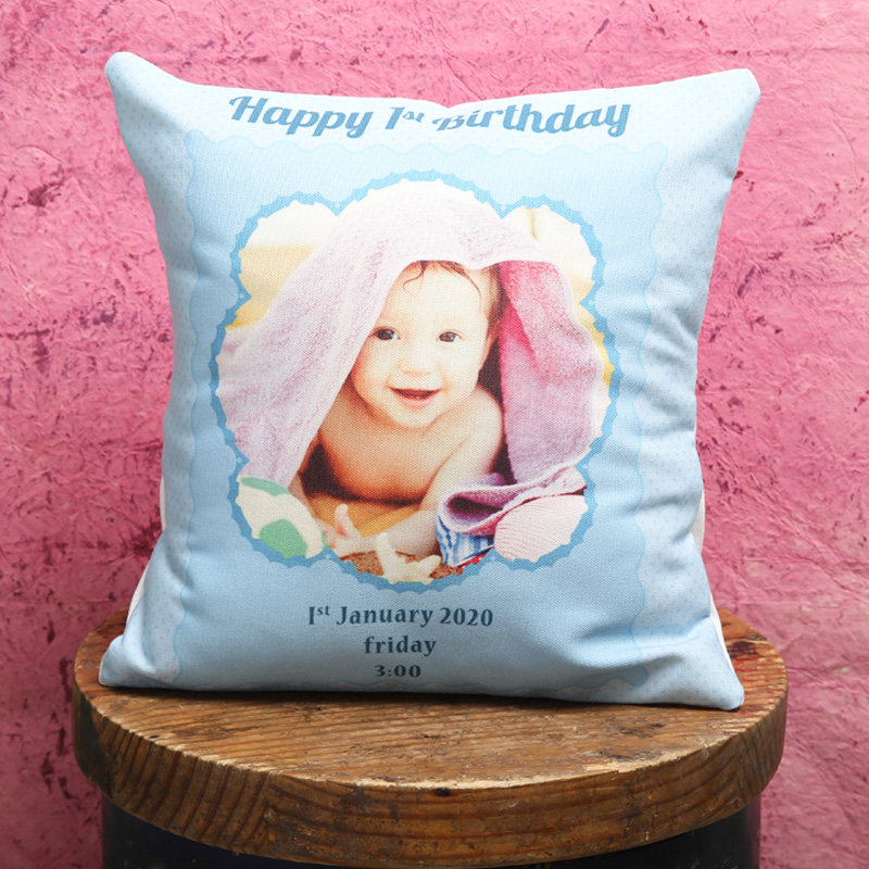 First Bday Baby Annoucement Cushion