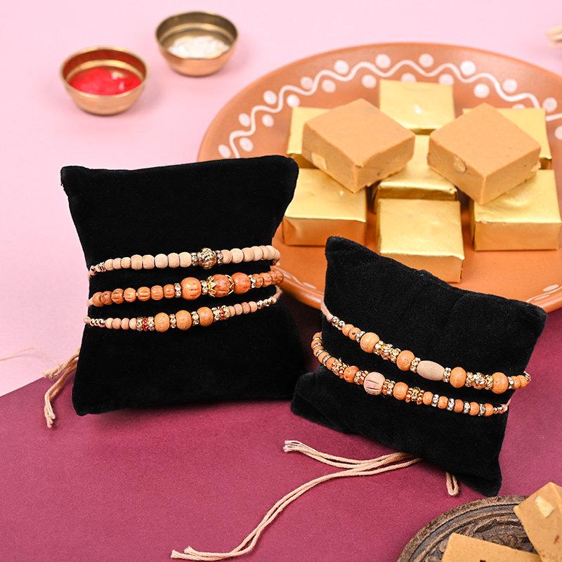 Five Beads Rakhi N Sweets