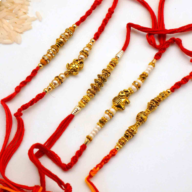 Five Gold Designer Rakhi