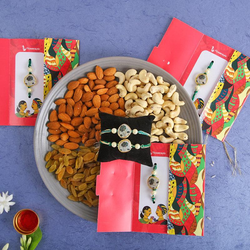 Five Pebble Rakhi Mix Nuts Combo