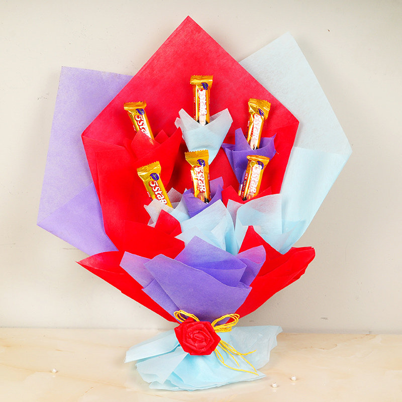 Five Star Delight Bouquet - Bouquet of Six 5 Star Chocolates in Multi Colored Paper Packing