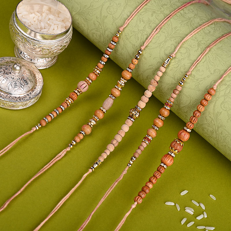 Five Wooden Beads Rakhis - Set of 5 Designer Rakhi