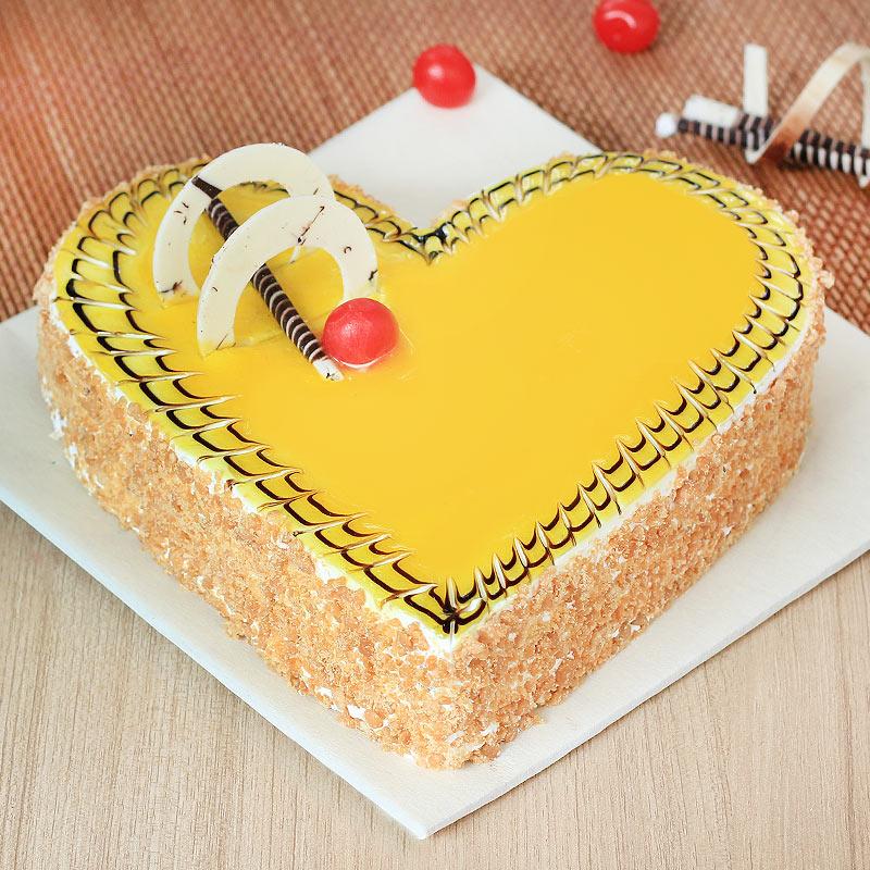 Flavorsome Love - Heart Shaped Butterscotch Cream Cake